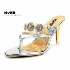 c1a360f90 Snake scales PU silver elegant fashion diamond gold plated high-heeled flip- flop slippers