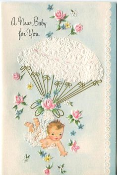 VINTAGE NEW BABY PARACHUTE ROSE EMBOSSED CONGRATULATIONS GREETING ART CARD PRINT in Collectibles, Paper, Vintage Greeting Cards | eBay