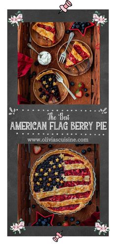 American Flag Berry Pie   www.oliviascuisine.com   Nothing says summer like a delicious berry pie! And if you're making dessert for 4th of July (or Memorial Day), why not do an American Flag lattice pie to celebrate? I can't think of anything more patriotic! This easy American Berry Pie recipe is delicious and instagrammable! #berrypie #americanflag Pie Crust Recipes, Tart Recipes, Berry Pie, Sweet Tarts, Pie Dessert, American Flag, Berries, Easy, Summer