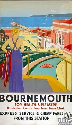 An poster sized print, approx (other products available) - Poster produced for Great Western Railway (GWR) to promote rail travel to Bournemouth in Dorset. Artwork by G D Tidmarsh. - Image supplied by National Railway Museum - Poster printed in Australia Posters Uk, Train Posters, Railway Posters, Art Deco Posters, Vintage Travel Posters, Poster Prints, Vintage Ski, Retro Posters, Vintage Holiday