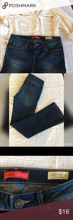 Guess low rise skinny boot jeans Excellent condition and fit Guess jeans. No fraying at bottom and no issues. The tag is missing from the right back pocket. So cute with a flowy top and boots for winter! Guess Jeans Boot Cut