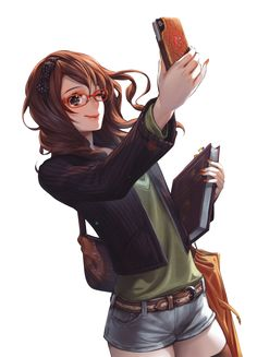 brunette manga girl with glasses | brown hair anime girl glasses phone render png by SeikiYukine