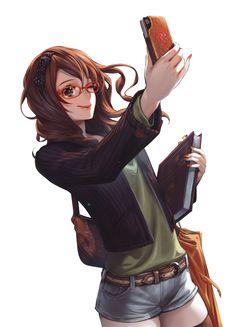 brunette manga girl with glasses | brown hair anime girl glasses phone render png by SeikiYukine