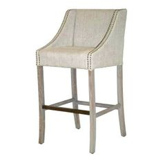 "Cascade 30"" Linen Bar Stool with Nailheads in Putty $510 CLAYTONGRAYHOME.COM"