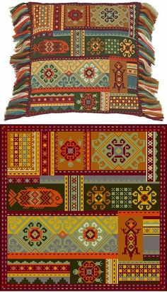 Terra Pillow by Riolis Cross Stitch Cushion, Cross Stitch Art, Cross Stitching, Cross Stitch Patterns, Folk Embroidery, Cross Stitch Embroidery, Palestinian Embroidery, Needlepoint Pillows, Decoupage Vintage