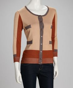 Take a look at this Beige & Rust Color Block Cardigan by YAL on #zulily today!  $26.99