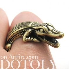 Miniature Crocodile Wrap Animal Ring in Bronze - Sizes 7 to 9 Available