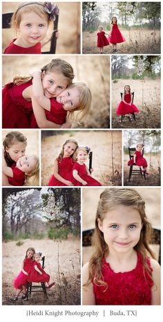Valentines Day Mini Session sisters in red dresses, chandelier in the tree, sweet hugs and kisses.  xoxo    Heidi Knight Photography.  Buda, TX