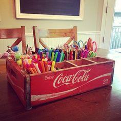 Super Old Coke Crate Ideas Art Supplies Ideas Art Studio Storage, Art Supplies Storage, Studio Organization, Craft Storage, Creative Storage, Diy Supplies, School Supplies, Storage Ideas, Old Coke Crates