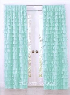 SHABBY BEACH COTTAGE CHIC AQUA TEAL DREAMY RUFFLED CURTAIN DRAPE PANEL