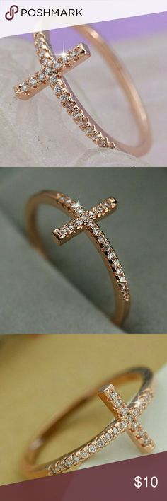 Ring sideways Cross,  silver rose gold plated. Sideways Cross Silver Rose Gold. No stamp.  White Rhinestones. Multi sizes. Jewelry Rings