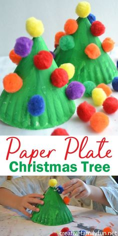 Make this fun and colorful Paper Plate Christmas Tree craft for kids or make several for a perfect kid-made Christmas decoration. by Angel Hong for kids Paper Plate Christmas Tree Kids Craft - Creative Family Fun Kids Crafts, Daycare Crafts, Preschool Crafts, Craft Kids, Kids Holiday Crafts, Decor Crafts, Paper Plate Crafts For Kids, Creative Crafts, Craft Activities