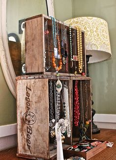 Crates as jewelry display.