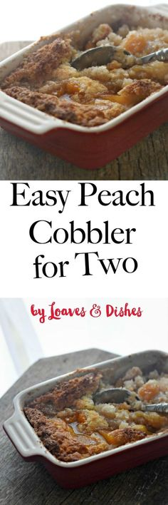 Easy Peach Cobbler for two people that is the best ready in minutes. Quick and healthy to prepare. A taste of southern Georgia, Paula Dean and the Pioneer Woman all rolled into one. Crisp and Homemade with Bisquick baking mix and love. by shawn Small Desserts, Easy Desserts, Delicious Desserts, Dessert Recipes, Individual Desserts, Italian Desserts, Baking Desserts, Pie Dessert, Mini Desserts