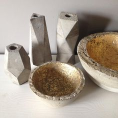 Amazing faceted concrete candleholders hand-cast by June Olsen.W 8 cm - H 7 cm.Choose from square and triangular shapes.