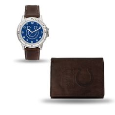 Indianapolis Colts Brown Watch/Wallet Gift Set
