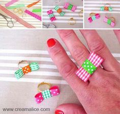 <3 ✄ DIY Bague Nœud Rubans / DIY Ribbon Bow Ring ✄ <3 http://www.creamalice.com/Coin_conseils/1-loisirs_creatifs_2013/5B-Tuto_Bague_Noeud_en_rubans/Tuto_DIY_Bague_Noeud_en_rubans.htm