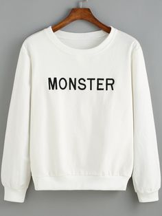 White Round Neck MONSTER Embroidered Sweatshirt , High Quality Guarantee with Low Price!