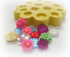 Flexible Flower Mold Daisy Tiny Flowers DIY Earrings Design Mold Polymer Clay Resin Button Magnet Mould