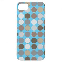 Gray and Brown Circles Pattern w/Blue Modern iPhone 5 Case- My original abstract, modern geometric pattern and design. Cover your iphone 5 in style w/this cool modern design iPhone 5 case. Also available for the iPhone 4, 5C, 6, & 6 Plus!  Click image to view case options. www.zazzle.com/abstractpaintings*/