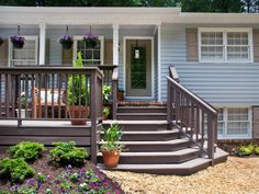 Does your home need more curb appeal? Check out these front yard landscaping photos and design ideas from HGTV. Front Porch Deck, Small Front Porches, Front Porch Design, Decks And Porches, Deck Design, Design Design, Landscape Design, Front Entry, House With Porch