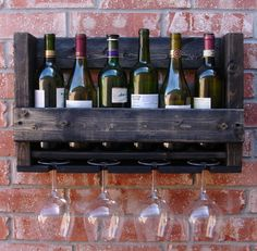 Simply Rustic 6 Bottle Wall Mount Wine Rack with 4 by KeoDecor, $55.00