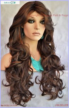 Long Wavy Heat Safe Skin Top Wig  FS4.30  *Incredible Sensual Style 1160 #SEPIA