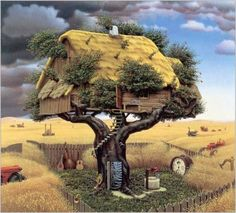 Take a look at this amazing Fictional Art by Jacek Yerka illusion. Browse and enjoy our huge collection of optical illusions and mind-bending images and videos. Art Bizarre, Weird Art, Vladimir Kush, Surrealism Painting, Tim Walker, Photo Wallpaper, Art Plastique, Surreal Art, Cool Artwork