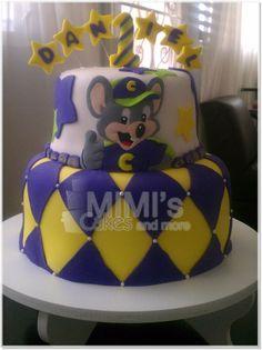 Chuck E Cheese cake Chucky Cheese Birthday Party, Chuck E Cheese Birthday, 3rd Birthday Cakes, 4th Birthday Parties, Chuck E Cheese Cake, Rock Star Cakes, Fondant Cakes, Cake Decorating, Cheesecake