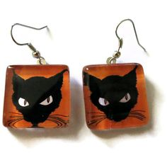 Halloween+Cat+Earrings+Black+Orange+Holiday+by+HausofAriella,+$12.00