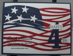 """Here is my version of a patriotic card that I saw on Pinterest. I just tweaked it a little bit!  I cut three of the """"flag"""" pieces out of Real Red and then cut off the bottom of the third one to leave"""