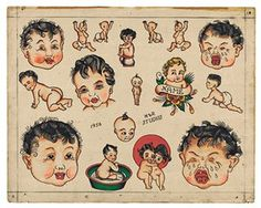 A variety of baby tattoos from H&R Studios in the US in 1956