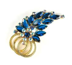 DeLizza and Elster Juliana Capri Blue Rhinestone Brooch from annasvintagejewelry on Ruby Lane