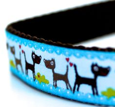 Dogs on Blue Dog Collar / Ribbon Dog Collar / Adjustable Dog Collar