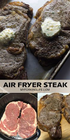 This steak made in your Air Fryer is perfect! Top it with Garlic herb butter for a restuarant quality meal right at home. Use ribeye, t-bone, filet mignon or whatever cut of steak you choose. Steak Recipes, Quick Recipes, Cooking Recipes, New Recipes For Dinner, Dinner Ideas, Air Fryer Steak, Air Frier Recipes, Garlic Herb Butter, Bobe
