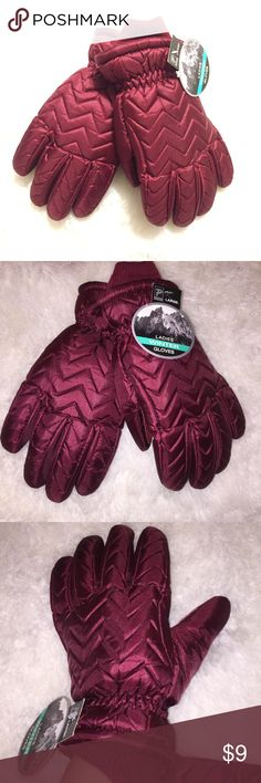 Burgundy metallic winter gloves NWT! Great as a gift or stocking stuffer! Women's winter gloves. Size Large. They fit my hands well, and I have fairly average/medium sized hands. NWT! Metallic red color, shown in pics with & without flash. Small mark on thumb, as photographed. Priced accordingly. 🚫NO TRADES! No further discount unless bundled. Accessories Gloves & Mittens
