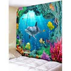3D Sea World Printed Rectangle Wall Hanging Tapestry - OCEAN BLUE W79 INCH * L59 INCH