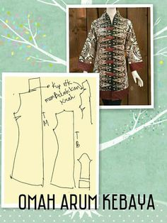 Kebaya Collar Pattern, Jacket Pattern, Top Pattern, Blouse Batik, Batik Dress, Dress Sewing Patterns, Clothing Patterns, Kebaya Peplum, Model Kebaya