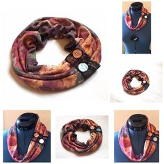 Infinity Scarf / Collar in stretch and soft print multicolored fabric...
