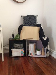 Mocka's Stacka Box looks great styled with contemporary accessories! Styled by Little Dwellings.