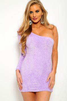 Lilac One Shoulder Fuzzy Casual Dress Dresses For Teens, Trendy Dresses, Sexy Dresses, Dress Outfits, Summer Dresses, Strapless Party Dress, Bodycon Dress Parties, Clubwear For Women, Ball Dresses