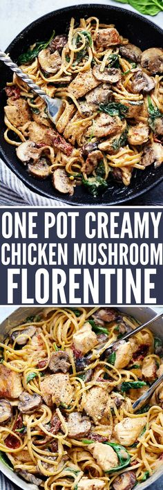 One Pot Creamy Chicken Mushroom Florentine is ready in under 30 minutes! Everything is made in just one pot and it is filled with sun dried tomatoes, spinach, mushrooms and the creamiest pasta! (Under 30 Minutes) Pasta Dishes, Food Dishes, Main Dishes, Pasta Recipes, Chicken Recipes, Dinner Recipes, Chicken Meals, Grilled Chicken, Casserole Recipes