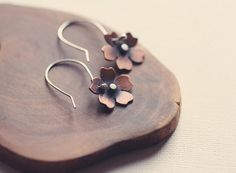 Cherry Blossom Earrings in Copper & Silver by PeculiarForest, €37.00