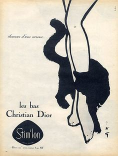 By René Gruau, 1 9 6 0, Christian Dior (Lingerie), Sweetness of a caress... Stockings Hosiery.