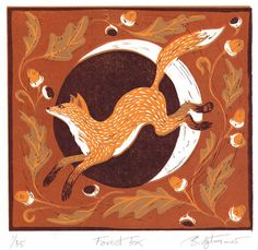 This is a four colour reduction lino print of the forest fox leaping through the oak forest with the moon behind him. By Bridget Farmer