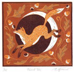 Forest Fox Reduction Linoprint Linocut by BridgetFarmerArtist