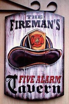 Firemans Tavern Sign, Firefighter Pub Sign-Fire Dept Bar Sign for that volunteer in your Family