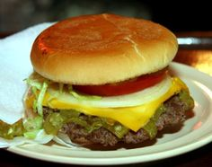 The original green chile cheese burger from the Owl Cafe in NM, home sweet green chile home.