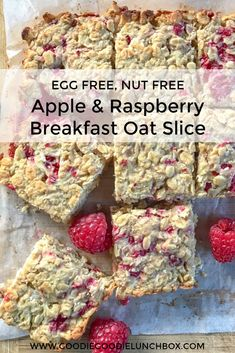 Apple & Raspberry Breakfast Oat Bars are a delicious wholesome way to start the day. From breakfast on the go to lunchbox snacks these Breakfast Oat Bars are a game changer. #kidfood #breakfastbar #breakfastforkids #breakfastoats #oats #oatideas #quickoats #lunchbox #snacks #lunchboxsnack #kidfoodidea #eggfree #nutfree via @goodielunchbox