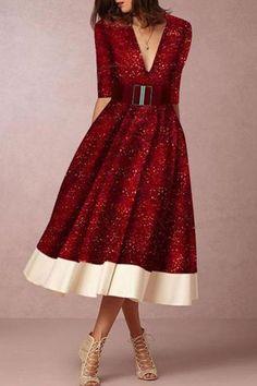 a011b98fd1 Elegant Fashion V Neck Sparkle Skater Dress